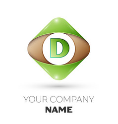 letter d logo symbol on colorful rhombus vector image