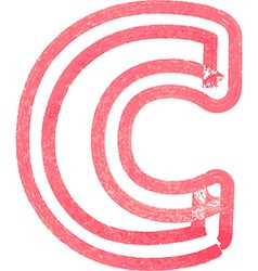 Lowercase letter c drawing with red marker vector