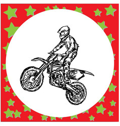 Motocross rider on a motorcycle jumping vector