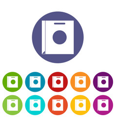 paper bag icons set flat vector image