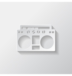 Retro tape recorder hipster style vector image