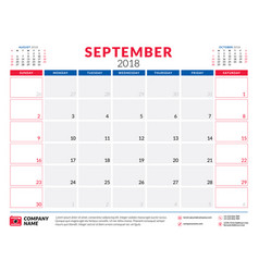 September 2018 calendar planner design template vector
