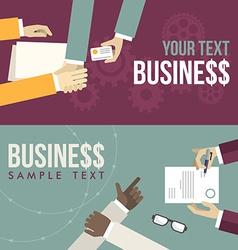 Set of flat design hand giving business ca vector