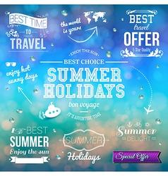 Summer design on blurred background Set of vector image vector image