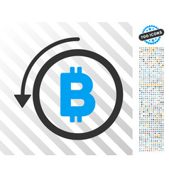 Undo bitcoin payment flat icon with bonus vector