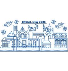 Usa new york bronx winter city skyline merry vector