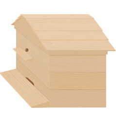 wooden beehive on a white background vector image vector image