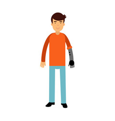 Young man with prosthetic arm colorful vector