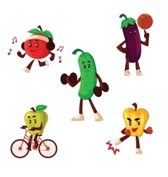 Fruits and vegetables doing sport exercises vector