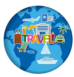Worldl travel concept stickers vector