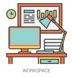 Workplace line icons vector