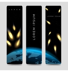 Bookmarks set with meteor shower vector image
