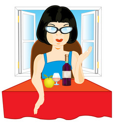 Girl at the table vector