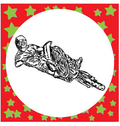 extreme motocross rider on a motorcycle jumping - vector image