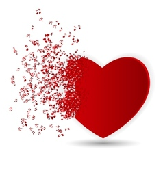Happy valentines day card with heart music notes vector