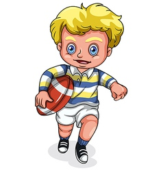 A young Caucasian boy playing rugby football vector image
