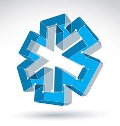 3d mesh web blue ambulance icon isolated on white vector image