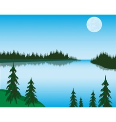 Lake in wood vector