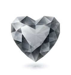 Shiny isolated diamond heart shape on white vector