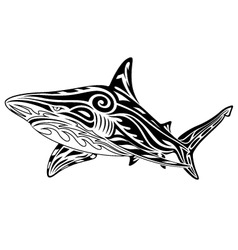 shark tribal tattoo vector image