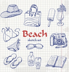 Collection of summer elements in sketch style on vector