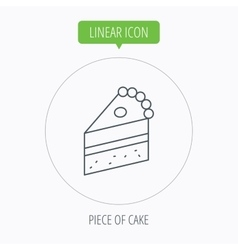 Piece of cake icon sweet dessert sign vector
