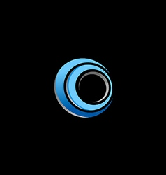 Circle blue round technology logo vector