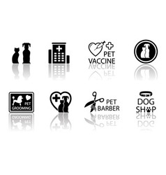 Veterinary icon set with reflection vector