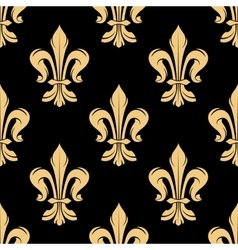Vintage golden fleur-de-lis seamless pattern vector