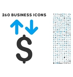 Dollar transactions icon with flat set vector