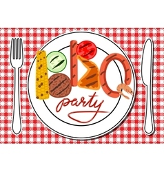 BBQ party card vector image