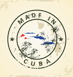 Stamp with map flag of cuba vector