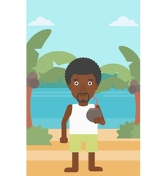Man drinking coconut cocktail on the beach vector