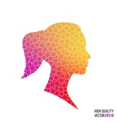 Female head silhouette design for greeting card vector