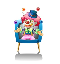 A clown inside the blue television vector image vector image