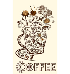 Abstract picture of a cup of coffee vector image vector image