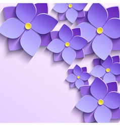 Background with purple summer flowers violets vector