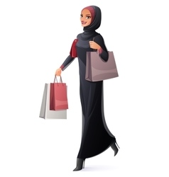 beautiful Muslim woman in hijab walking vector image vector image