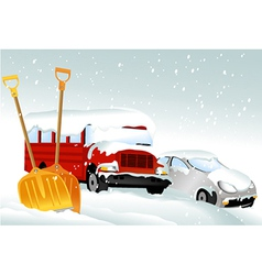 Cars after snowfall vector