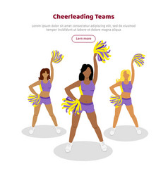 Cheerleading teams web banner girls with pompoms vector