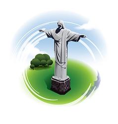 Christ statue rio de janeiro brazil vector