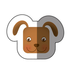 colorful face sticker of dog in square shape vector image vector image