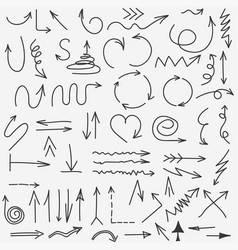 doodle arrows collection hand drawn black arrow vector image