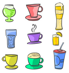 Doodle of drink various set vector