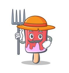 farmer ice cream character cartoon vector image vector image