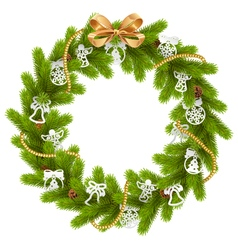 Fir wreath with paper decorations vector