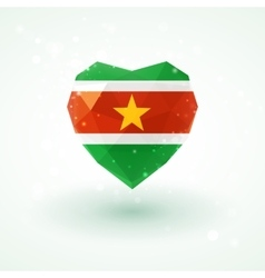 Flag of suriname in shape diamond glass heart vector