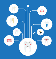 Flat icons cleaned implantation artificial teeth vector