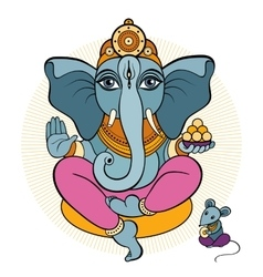 Ganesha and mouse vector image vector image