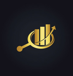 Gold business finance arrow chart search logo vector